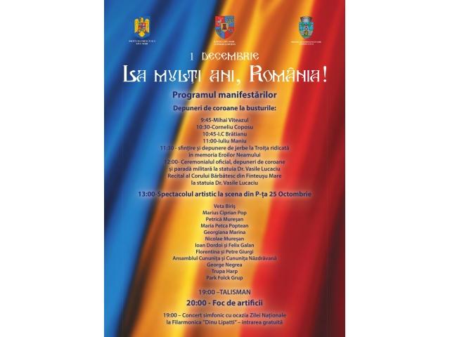 Programul manifestarilor cu ocazia Zilei Nationale a Romaniei in municipiul Satu Mare