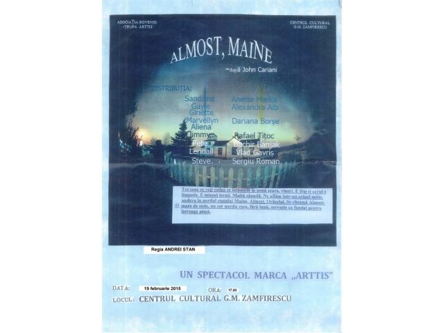 """Teatrul de Nord reia duminică spectacolul """"Almost, Maine"""""""