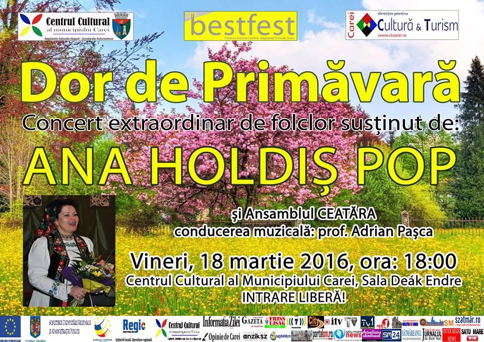 Concert de muzica populara sustinut de Ana Holdis Pop la Carei