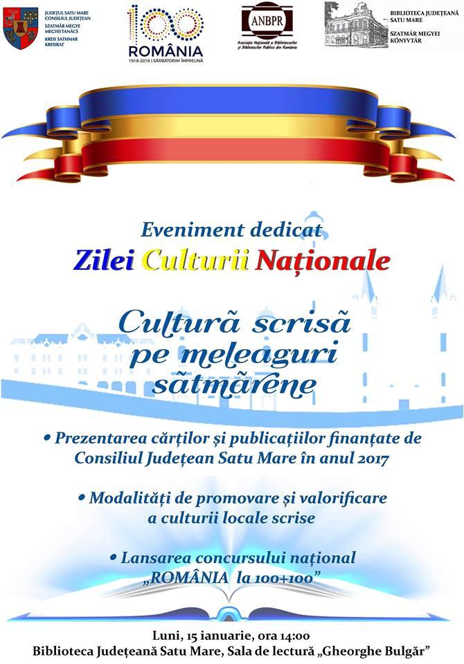 Biblioteca Județeană Satu Mare marchează Ziua Culturii Naționale