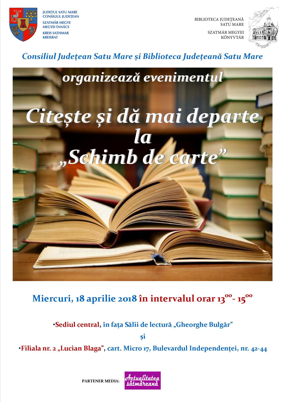 """Biblioteca Județeană Satu Mare îi invită pe sătmăreni la o nouă acțiune """"Citește și dă mai departe la schimb de carte"""""""