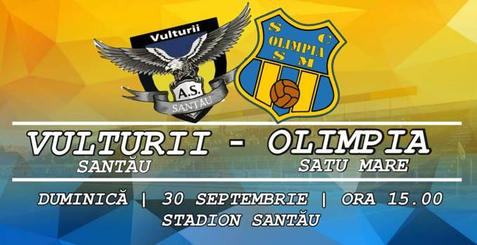 Olimpia Satu Mare intalneste in deplasare Vulturii Santau, in etapa a IV-a din liga a V-a de fotbal
