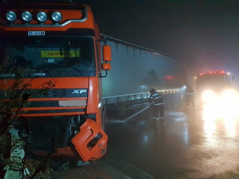 Pompierii satmareni s-au deplasat la accidentul de la sensul giratoriu de la Terebesti