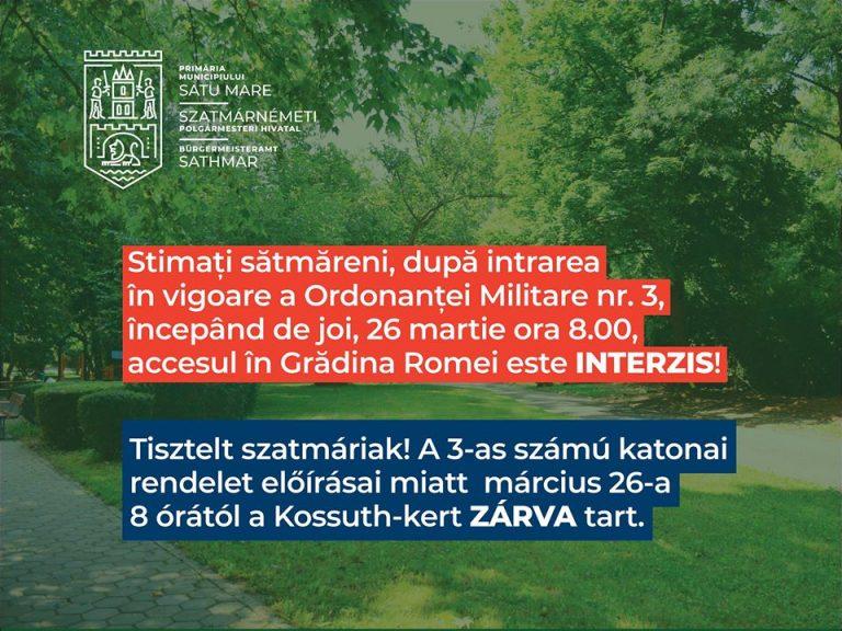 După intrarea în vigoare a Ordonanței Militare nr. 3, accesul în Grădina Romei este INTERZIS!
