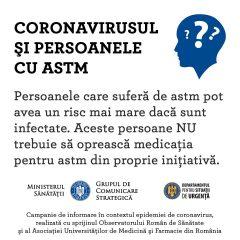 Persoanele cu forme moderate și severe de astm, au un risc mai mare de a dezvolta forme complicate