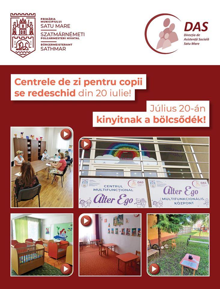 Se redeschid centrele de zi pentru copii din municipiul Satu Mare