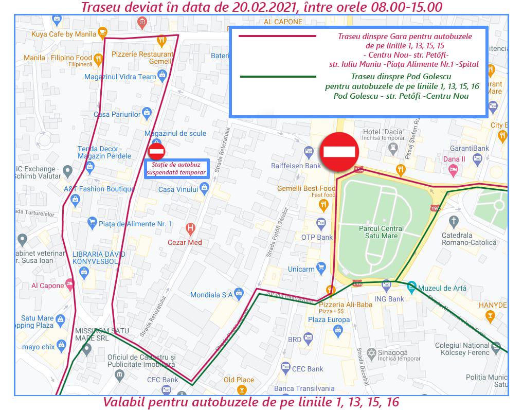 Deviere traseu pentru o parte din autobuzele Transurban Satu Mare